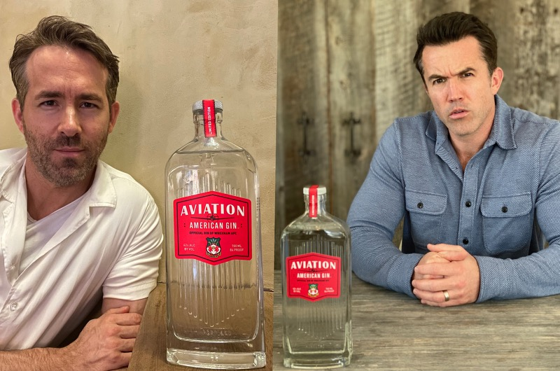 Ryan and Reynolds and Rob McElhenney, Wrexham AFC's new owners, with the limited-edition bottle release