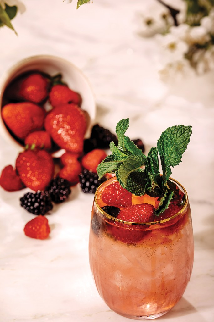 Gin tonic-style cocktail with fresh berries