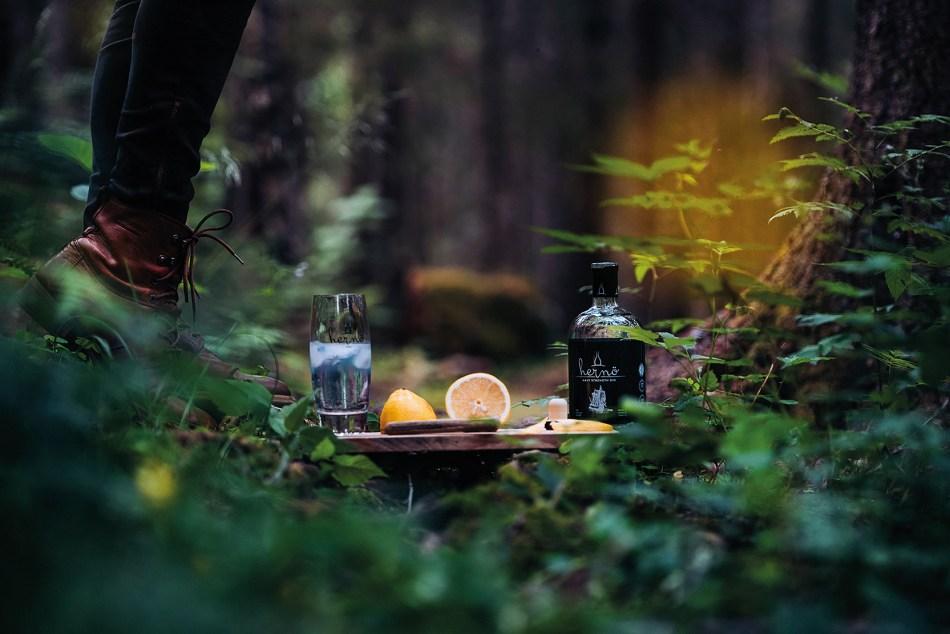 Hernö Navy Strength Gin in the forest