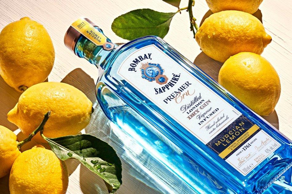 Bombay Sapphire Premier Cru Murcian Lemon flat lay with lemons