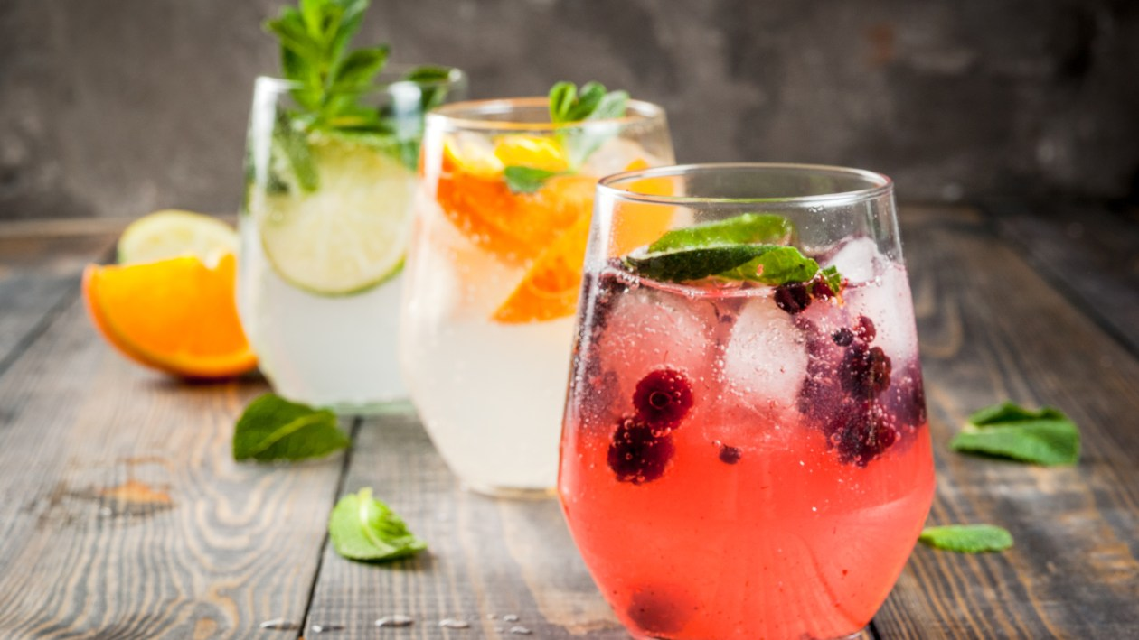 A selection of gin and tonics with different garnishes for International Gin and Tonic Day