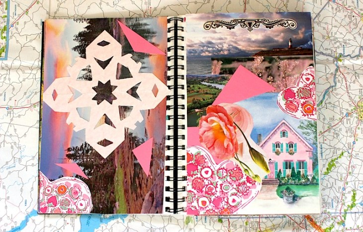 Travel Diary: Pink Scrapbook Paper + Photos