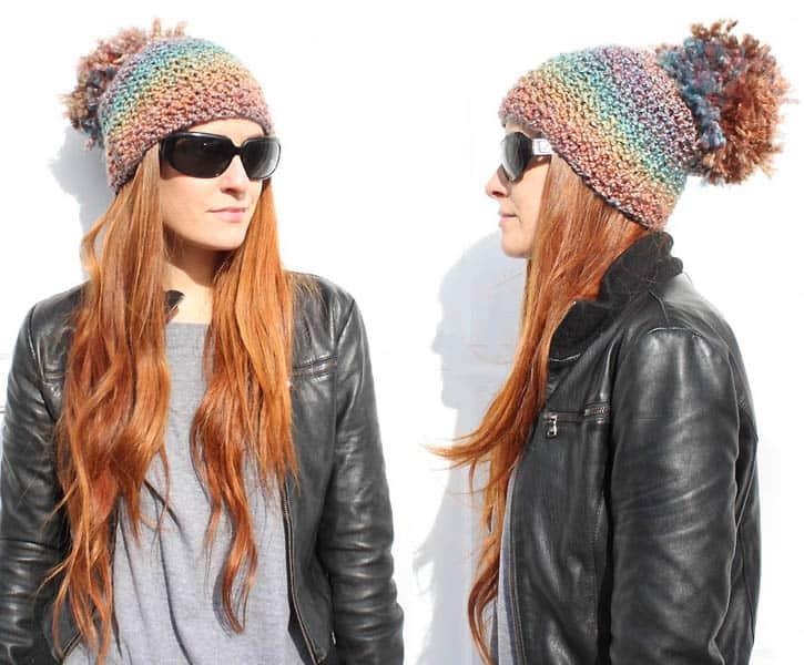 85a99dd7539 diy pom pom beanie  knitting pattern  - Gina Michele