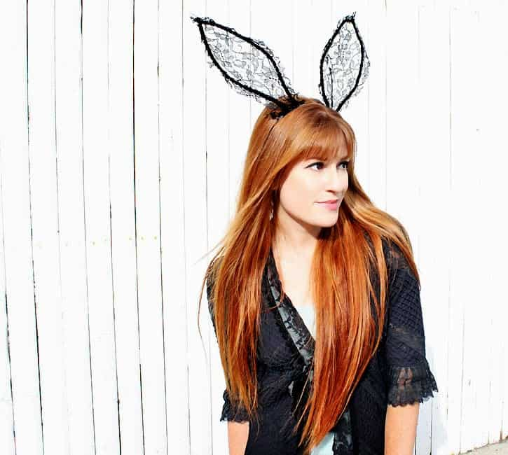 the inspiration for these lace bunny rabbit ears came from this version by maison michel the lace is a chic alternative to the faux fur ears that all the