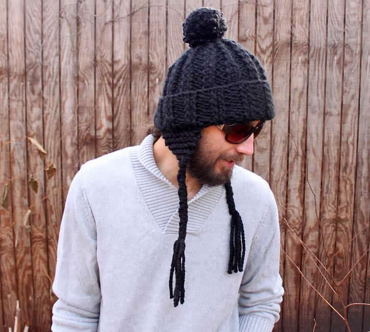 Mens Ear Flap Hat [knitting pattern] - Gina Michele