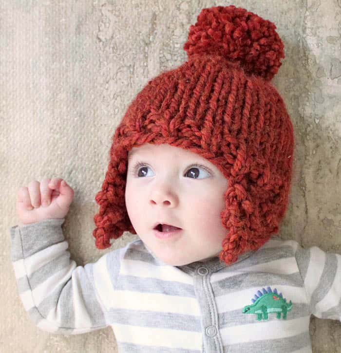 Baby Ear Flap Hat Knitting Pattern by Gina Michele