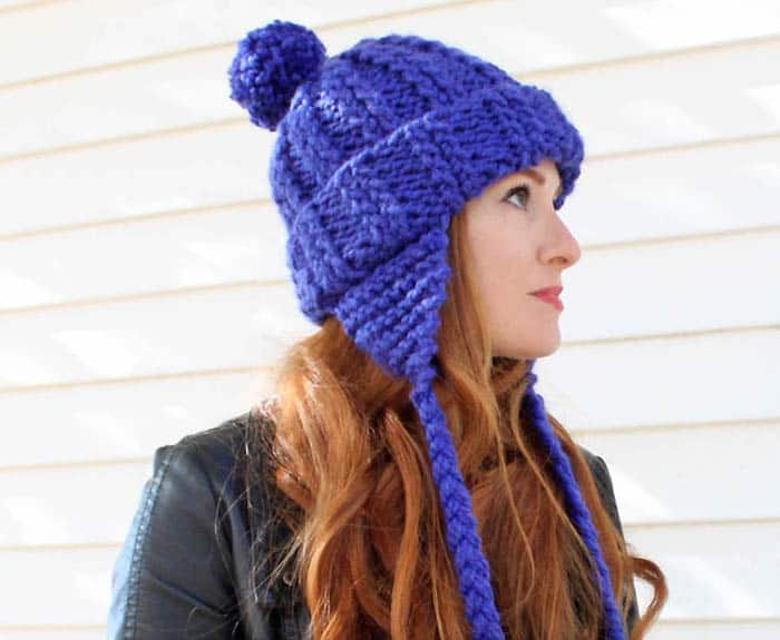 Fast and Easy Ear Flap Hat Knitting Pattern by Gina Michele