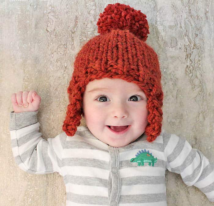 Easy Baby Ear Flap Hat Knitting Pattern by Gina Michele