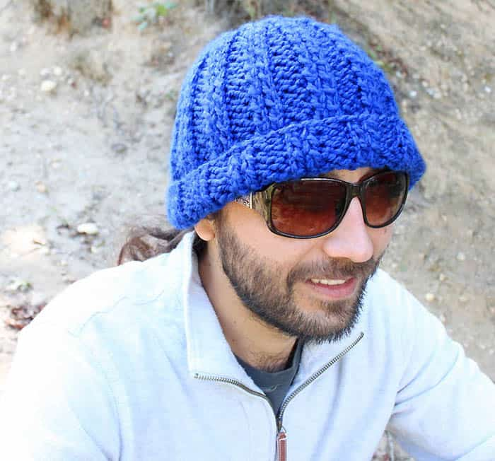 Mens Basic Beanie Hat Knitting Pattern by Gina Michele
