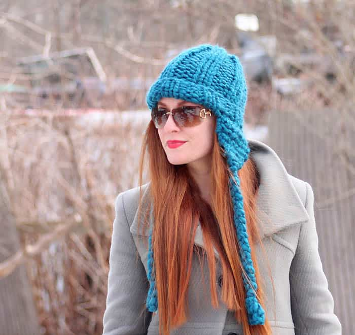 Patons Cobbles Ear Flap Hat Free Beginner Knitting Pattern
