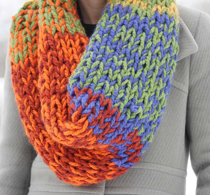 Lion Brand Wool Ease Thick Quick Double Layered Chunky Cowl Knitting Pattern