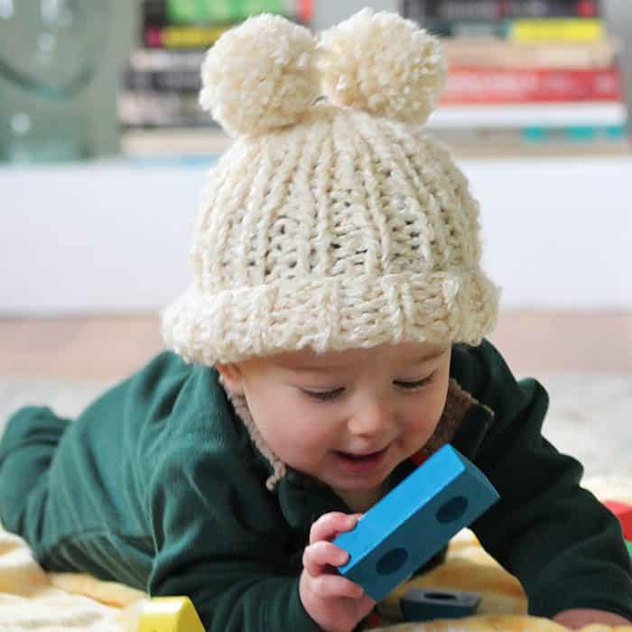 Lion Brand Homespun Easy Circular Needle Baby Hat Knitting Pattern