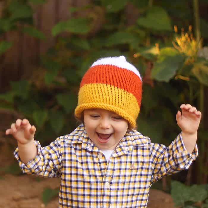 Kids Candy Corn Hat knitting pattern