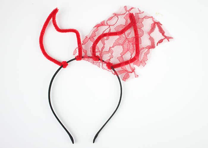 DIY Halloween Devil Horns with Veil