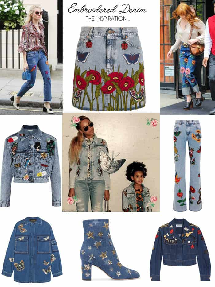 Embroidered Denim- How to DIY Fall's Hottest Trend