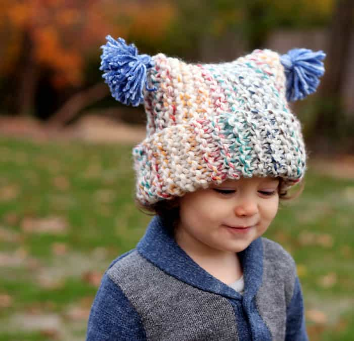 Flat Knit Garter Stitch Hat Free Knitting Pattern