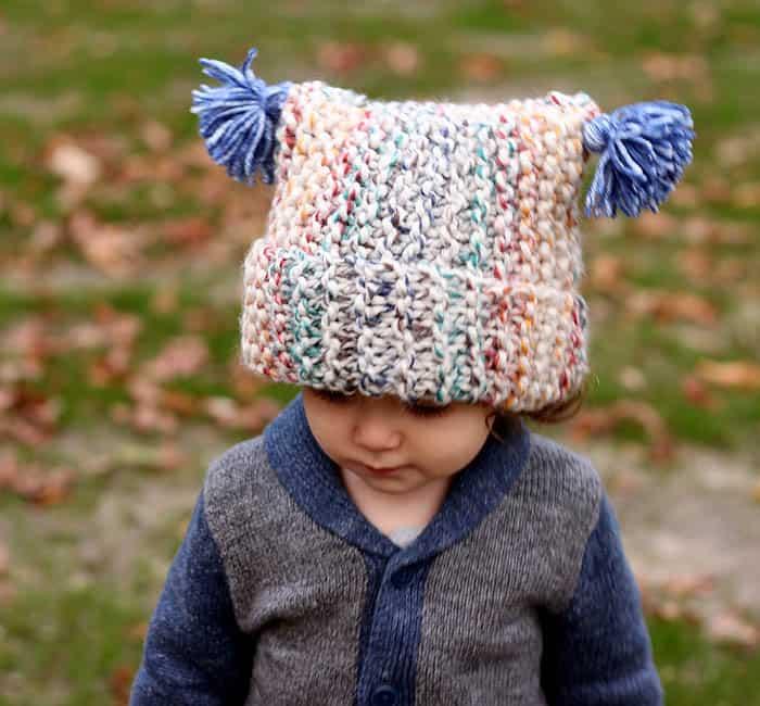 Flat Knit Garter Stitch Hat Knitting Pattern- Super Easy! - Gina Michele fb8b75154cb