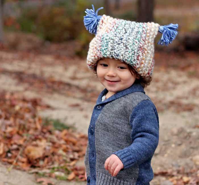 Flat Knit Garter Stitch Hat Free Knitting Pattern