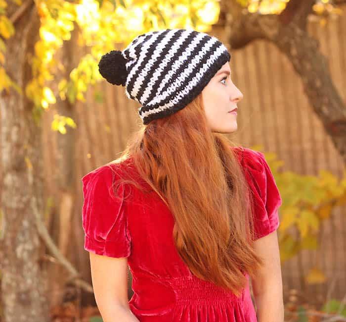 Kate Spade Chunky Stripe Beanie Knitting Pattern Gina Michele