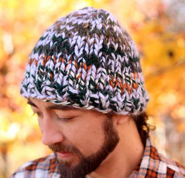 Free Knitting Pattern mens triple knit chunky hat