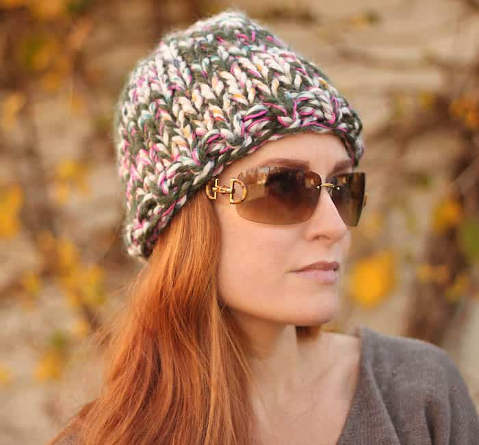 Beginner triple knit hat free knitting pattern