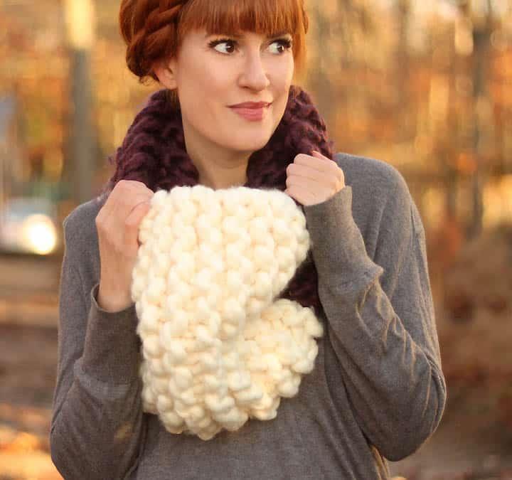 Beginner Jumbo Cowl Knitting Pattern by Gina Michele