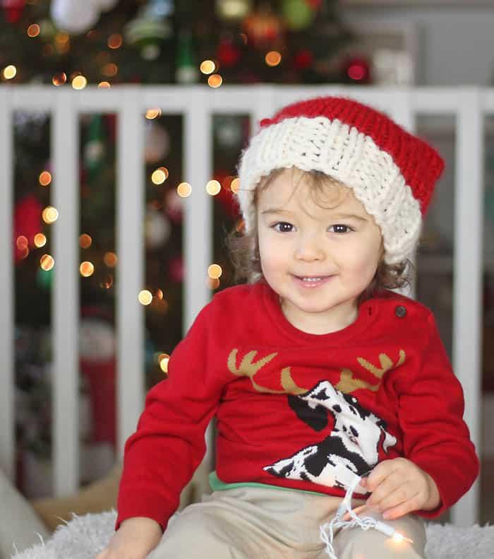 Santa Hat Knitting Pattern - Gina Michele