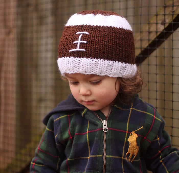 Football Baby Hat Free Knitting Pattern by blogger Gina Michele 27bc51075696