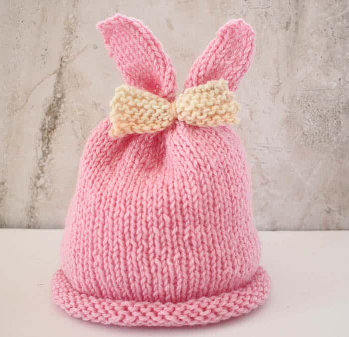 Baby Girl Bunny Ear Hat Knitting Pattern - Gina Michele