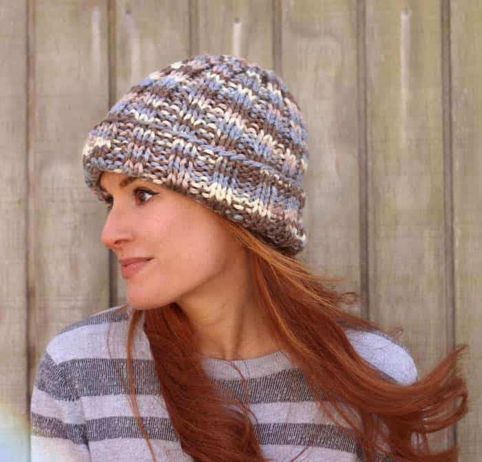 Flat Knit Hat Free Knitting Pattern- perfect for beginners!