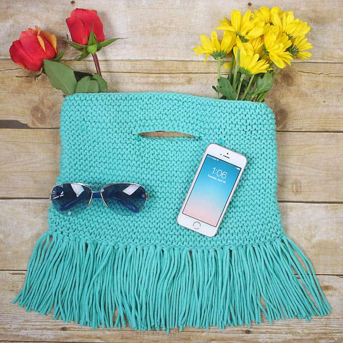 Fringe Clutch Free Knitting Pattern by Gina Michele