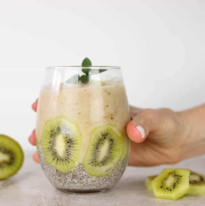 Layered Chia Seed Pudding and Banana Smoothie