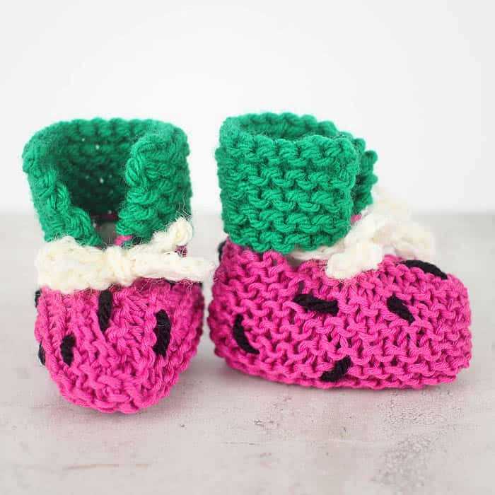 Easy Watermelon Baby Booties Knitting Pattern Gina Michele