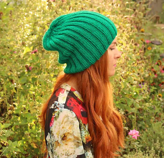 Slouch Beanie Free Knitting Patten by Gina Michele