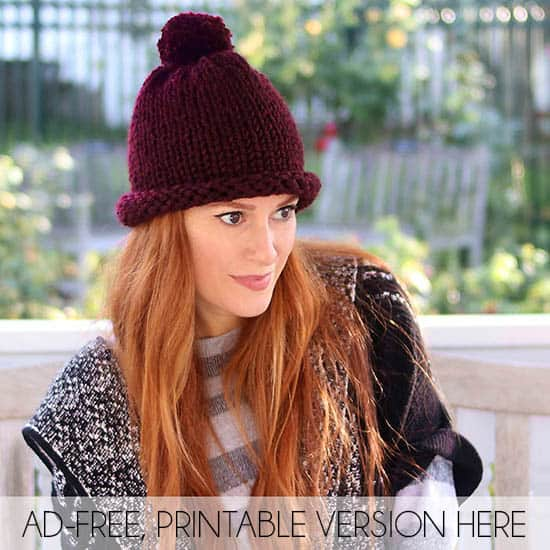 1 Hour Hat Free Knitting Pattern Women And Men Sizes Gina Michele