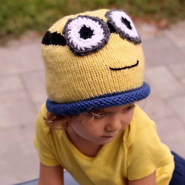 Minion Hat Free Knitting Pattern- perfect for Halloween! - Gina Michele