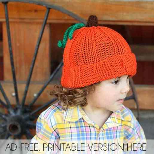 43c09d657 Toddler & Kids Pumpkin Hat Free Knitting Pattern - Gina Michele
