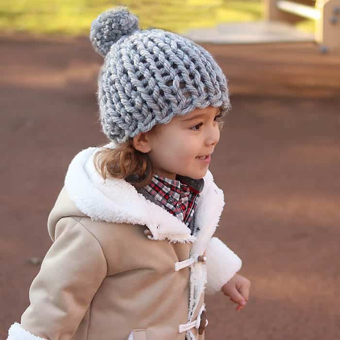 30 Minute Flat Knit Kids Hat Free Knitting Pattern Gina Michele