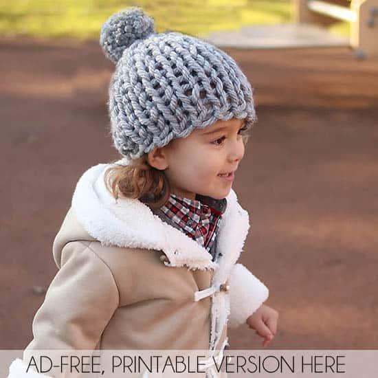 30 Minute Flat Knit Kids Hat Free Knitting Pattern by Gina Michele
