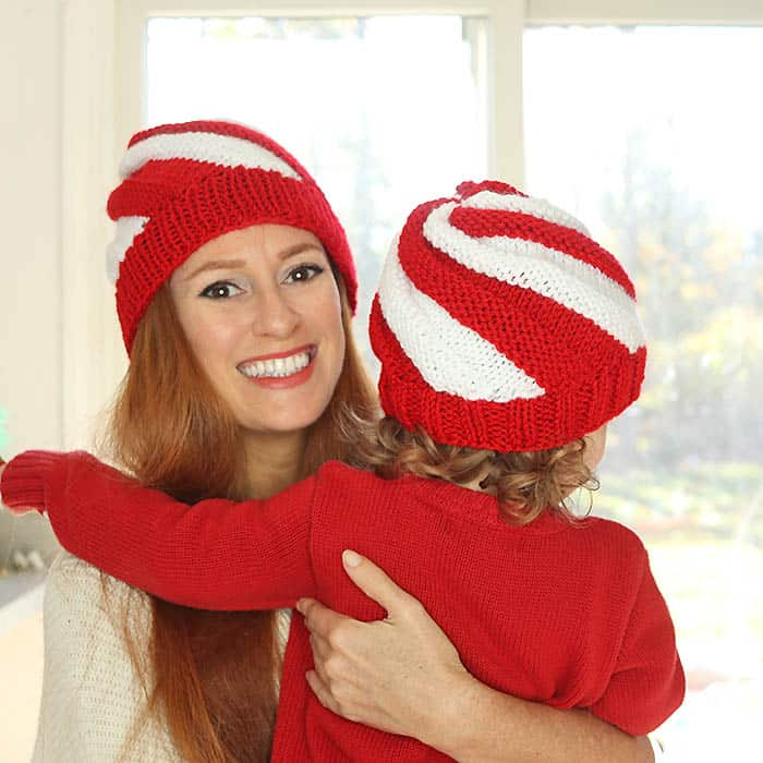 Easy Candy Cane Swirl Hats Free Knitting Pattern- women and kids ...