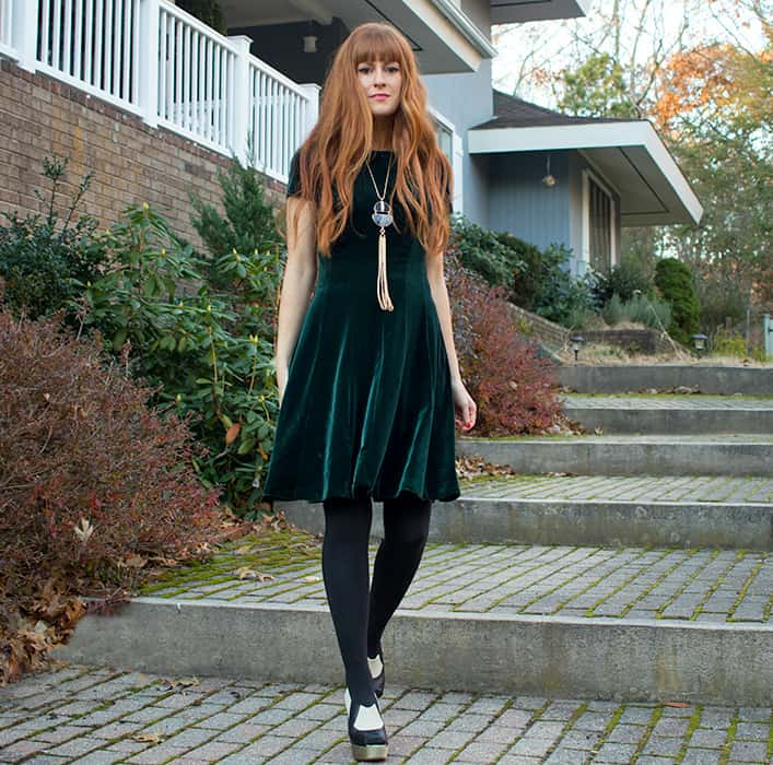 Emerald Velvet Part Dress