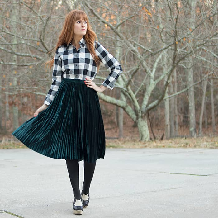 Emerald Pleated Velvet Skirt