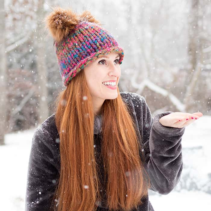 Double Pom Beanie Knitting Pattern - Gina Michele