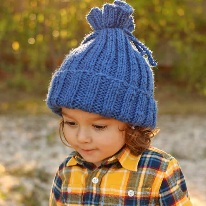 Flat Knit Kids Hat Free Knitting Pattern