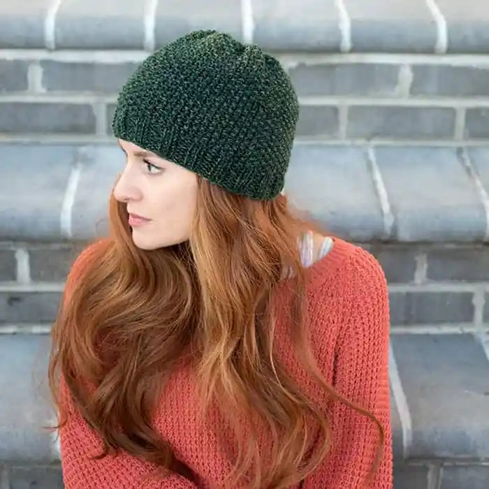 Seed Stitch Beanie Free Knitting Pattern by Gina Michele