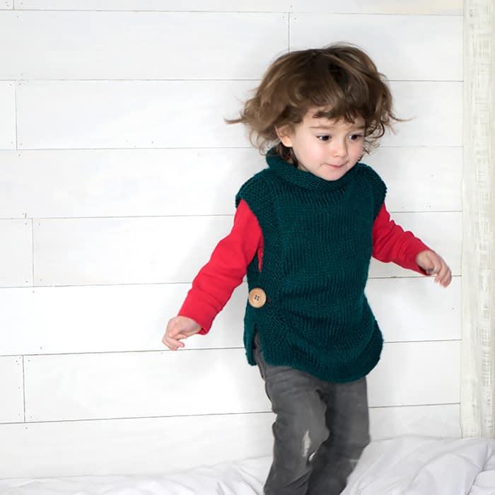 EASY Kids Sweater Free Knitting Pattern - Gina Michele