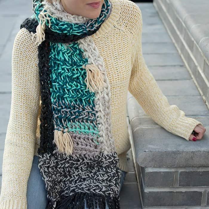 Leftover Yarn Scarf Free Crochet Pattern