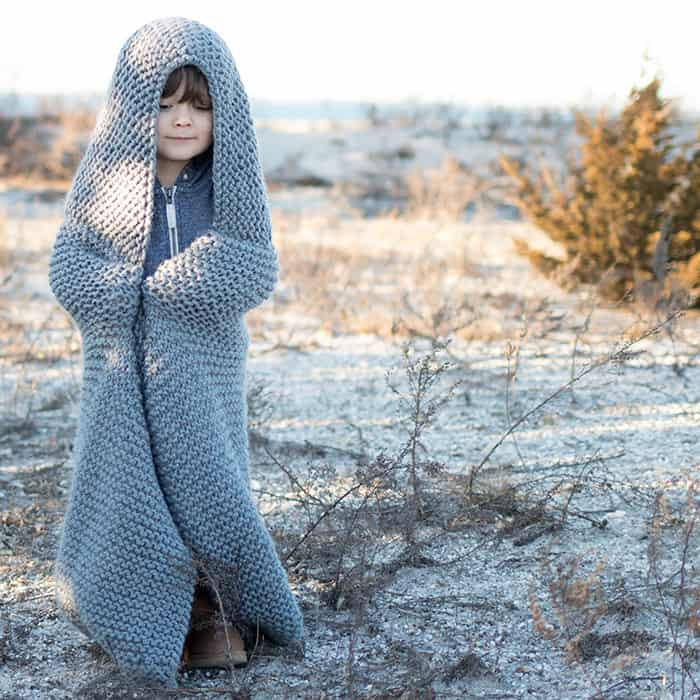 Hooded Blanket Knitting Pattern