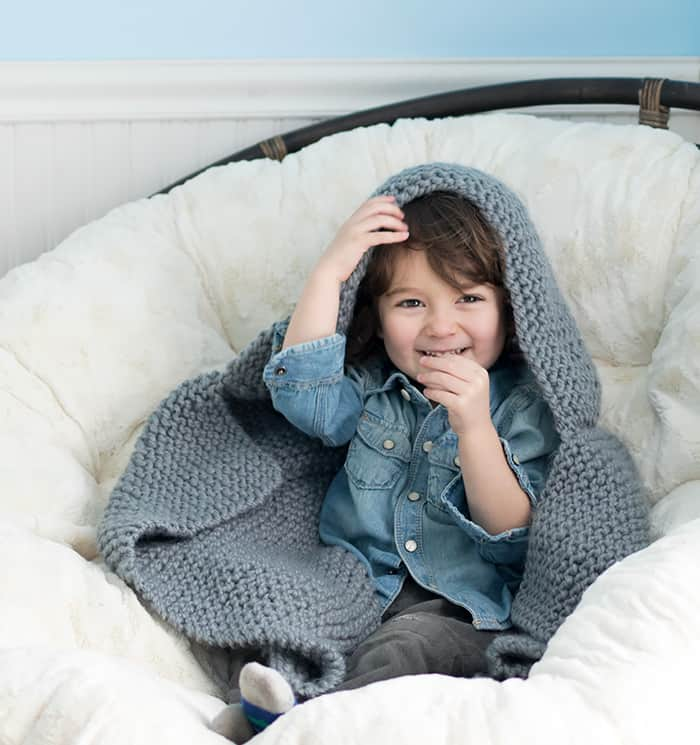 Hooded Blanket Knitting Pattern by Gina Michele