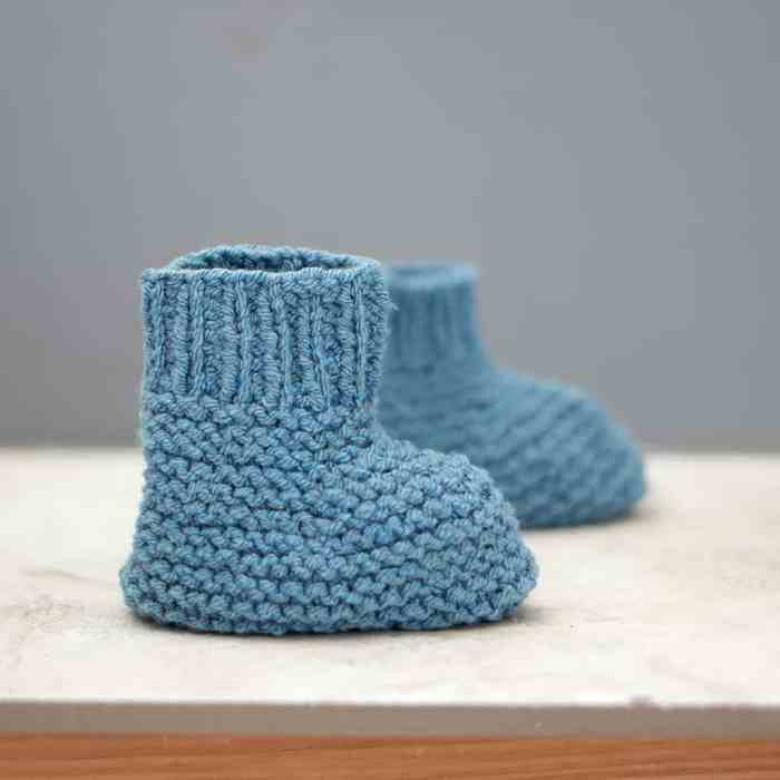 Stay On Baby Booties Knitting Pattern